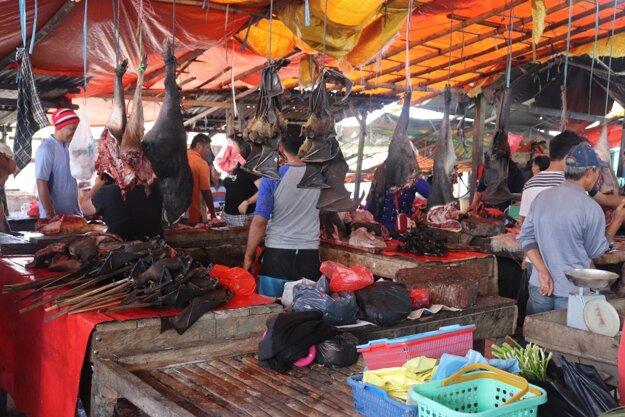 Mŕtve netopiere na trhu v Indonézii.