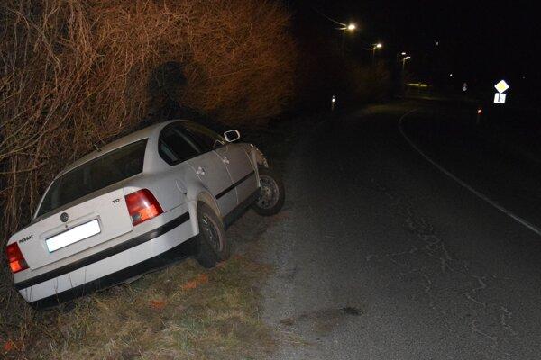 Auto po nehode v Krompachoch.