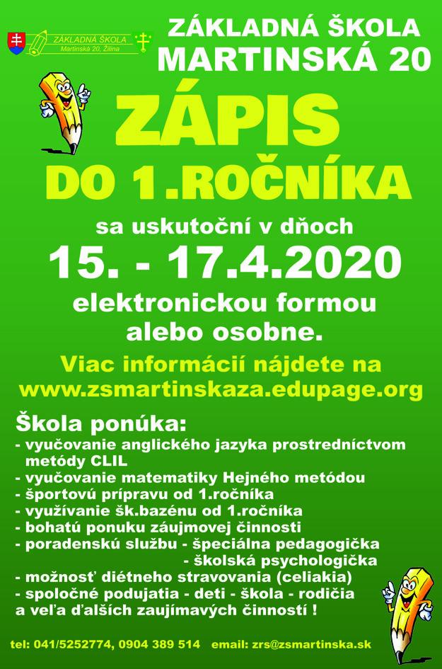 Zápis do 1. ročníka sa na ZŠ Martinská uskutoční od stredy do piatku.