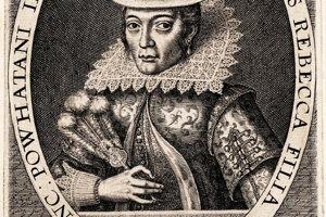 Jediný dobový portrét Pocahontas je rytina z roku 1616.
