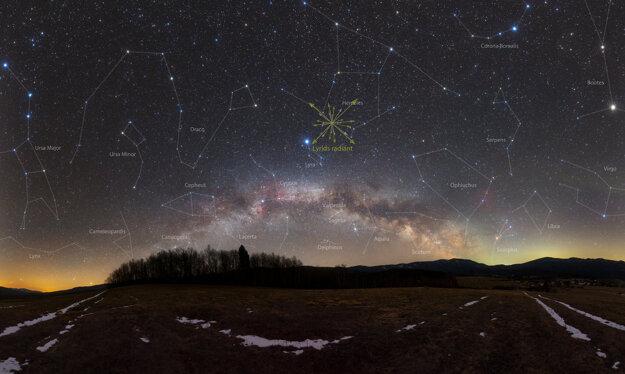 Pomyselný bod na nočnej oblohe, z ktorého budú Lyridy zdanlivo vychádzať.
