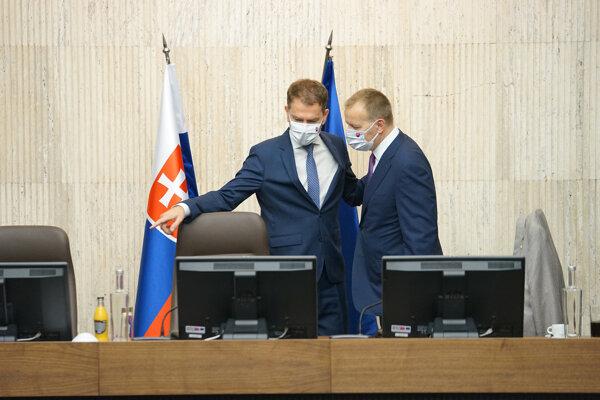 Predseda vlády SR Igor Matovič a predseda parlamentu Boris Kollár.