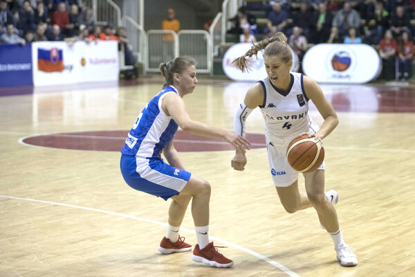 Odchovankyňa levického basketbalu Nikola Kováčiková vnajcennejšom drese počas kvalifikácie na Majstrovstvá Európy 2019 vzápase proti Bosne aHercegovine.