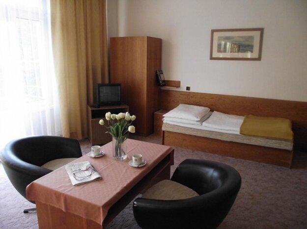 Pohľad do ekonomy izby v kúpeľnom hoteli Palace na Sliači.