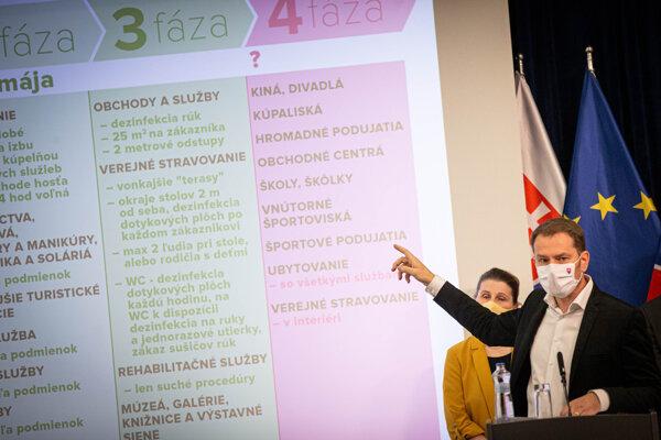 Premiér Igor Matovič počas tlačovej konferencie.