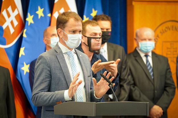 Koronavírus na Slovensku: Premiér Igor Matovič na tlačovej besede po rokovaní tripartity.