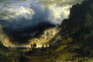 Albert Bierstadt - Búrka v Skalnatých vrchoch, Mount Rosalie, 1866.