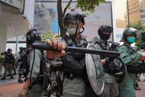 Hongkonská poriadková polícia 27. mája 2020.