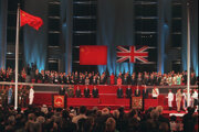 Ceremónia, ktorá v roku 1997 pripomína prechod Hongkongu z britskej pod čínsku správu.
