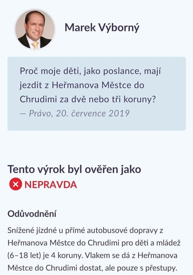 Príklad fact-checkingu na stránke demagog.cz.
