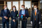 Richard Sulík (SAS), Veronika Remišová (Za ľudí), Igor Matovič OĽaNO) a Boris Kollár (Sme rodina)