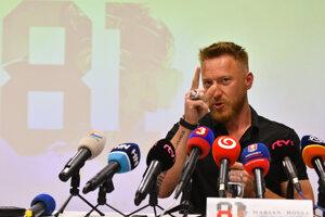 Slovenský hokejista Marián Hossa počas tlačovej besedy k informácii, že sa tento rok stane členom hokejovej Siene slávy v Toronte.
