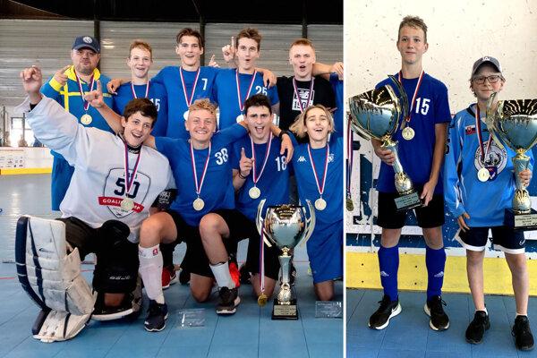Vľavo časť víťazného tímu HK Nitra U16. Na druhej fotke pózujú s pohármi Peter Valent (U16) a Marek Benďák (U14).