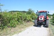 Úprava cesty vo vinohradoch.