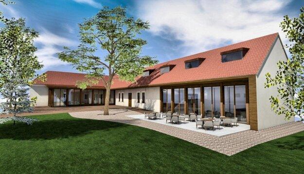 Takto by mal vyzerať vnútorný priestor bývalej škôlky s prístavbou a plánovanou kaviarňou.