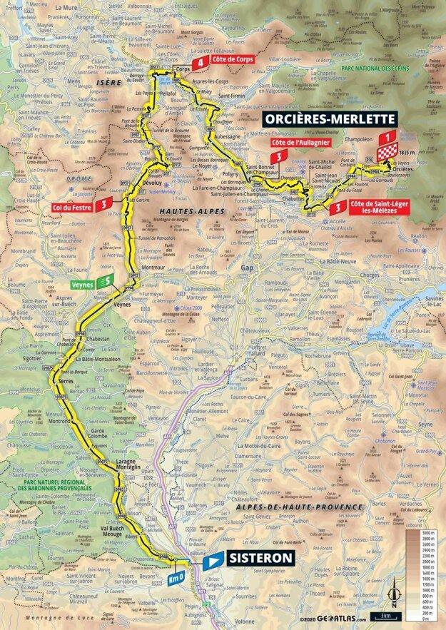 4. etapa na Tour de France 2020 - mapa.