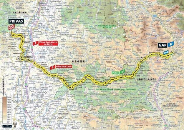 5. etapa na Tour de France 2020 - mapa.