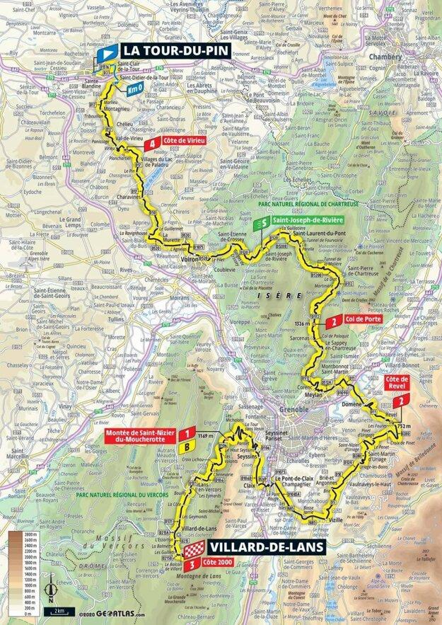 16. etapa na Tour de France 2020 - mapa.