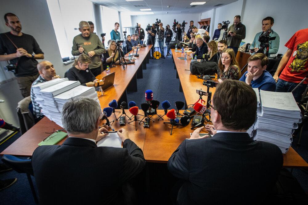 14. marec 2019. Tlačová konferencia prokurátorov  o trestnom konaní úkladnej vraždy Jána Kuciaka a Martiny Kušnírovej.