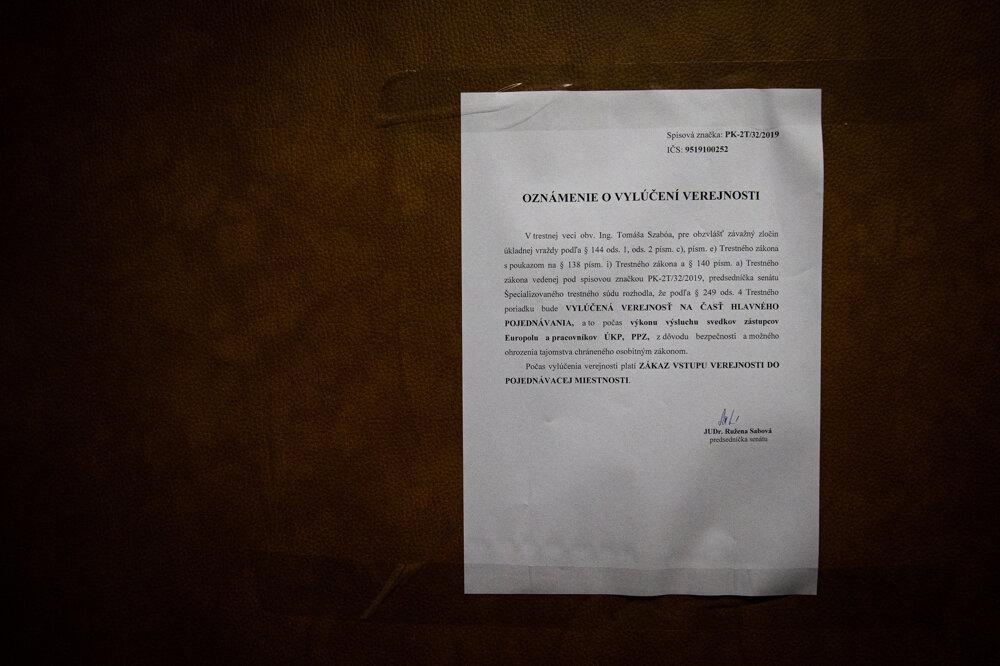 6. február 2020. Súd vylúčil verejnosť na výsluchy dvoch pracovníkov Europolu a dvoch pracovníkov policajného prezídia.