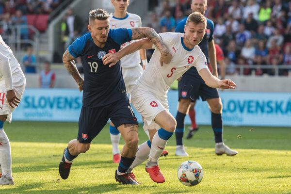 Momentka zo zápasu Slovensko - Česko (futbal, Liga národov live).