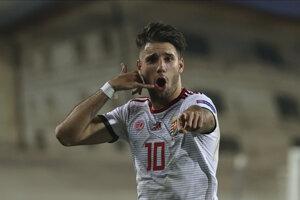 Dominik Szoboszlai oslavuje gól proti Turecku.