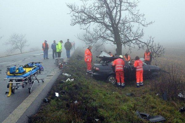 Januárová nehoda medzi obcami Sečovce a Dargov.