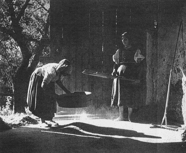 Historický záber čistenia obilnín – práca so sitom.