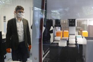 Snímka z testovania a inštalovania špeciálneho prístroja na testovanie vzoriek pre Biomedicínske centrum SAV.