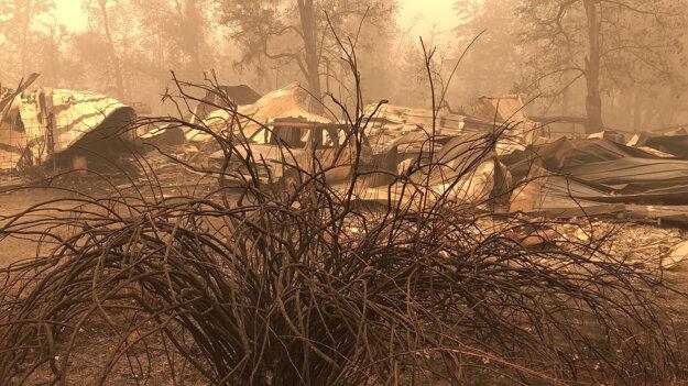 Požiar zanechal spúšť v Mill City v Oregone.
