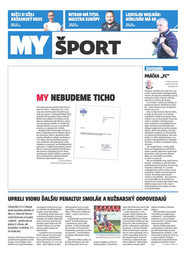 Historická športová titulka dnešného vydania týždenníka MY Nitrianske noviny.