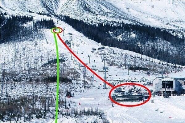 Červenou farbou je vyznačená existujúca lanovka na Čučoriedkach s údolnou stanicou, ktorá by sa odstránila. Zelená čiara znázorňuje trasu plánovanej novej lanovky.