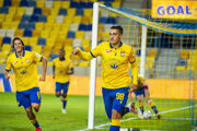 Futbalisti DAC Dunajská Streda sa radujú po jednom z gólov.