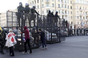 Protesty v Minsku proti vláde Alexandra Lukašenka.