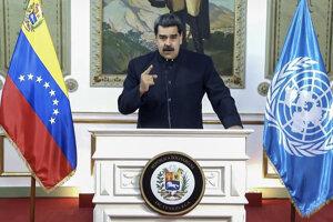 Venezuelský prezident Nicolás Maduro počas svojho online vystúpenia na Valnom zhromaždení OSN.