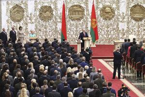 Aexander Lukašenko v priebehu inaugurácie.