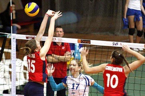 Smečuje Malgorzata Lech-Vlk, v pozadí tréner Ľuboš Červeň.