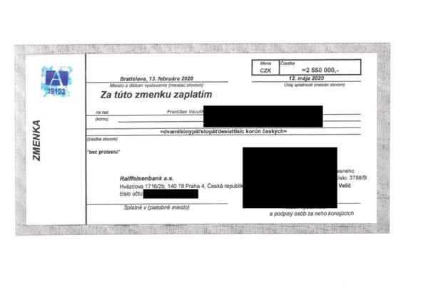Jedna zo zmeniek spoločnosti Arca Investments. Táto je štvrťročná na zmenkovú sumu 2,6 milióna českých korún. Takto vyzerajú aj zmenky, ktoré vlastní Pavlína Matovičová, ale jej zmenky sú vystavené v eurách a pravdepodobne na sumu 200-tisíc eur.