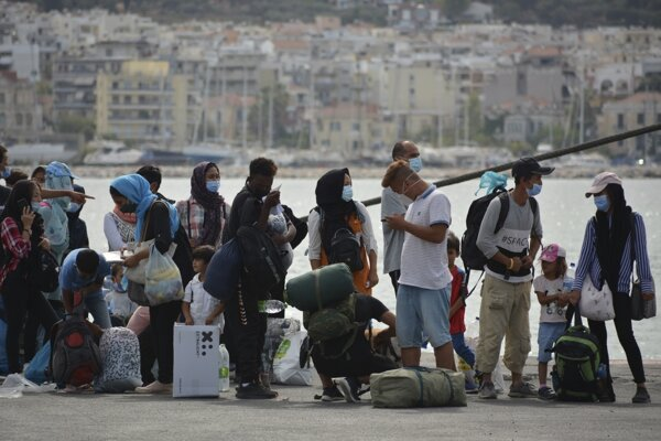 Migranti na ostrove Lesbos.
