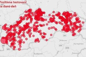 Takto vyzerá mapa Slovenska s miestami, kde boli pozitívne testovaní.