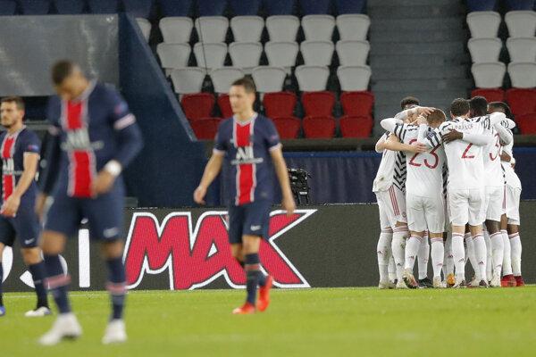 Momentka zo zápasu PSG - Manchester United, Liga majstrov.