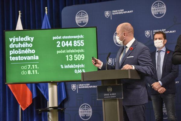 Minister obrany Jaroslav Naď (OĽaNO) predstavuje výsledky plošného testovania.