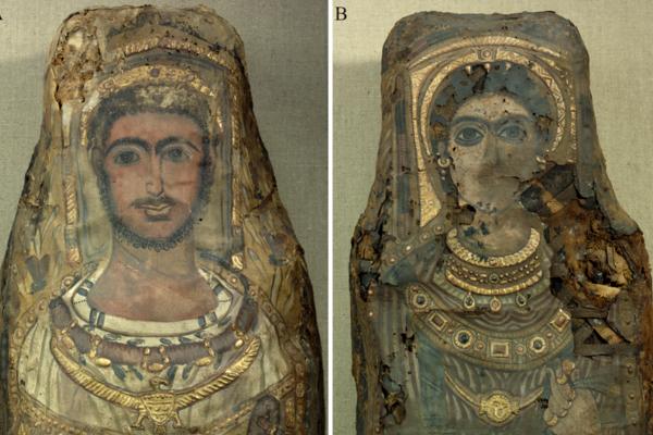 Portrétové múmie zo staroegyptského pohrebiska v Sakkáre.