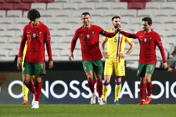 Cristiano Ronaldo oslavuje gól proti Andorre.