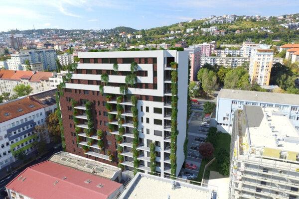 Vizualizácia projektu na Kominárskej ulici v Bratislave, pozemky sú založené v prospech Privatbanky.