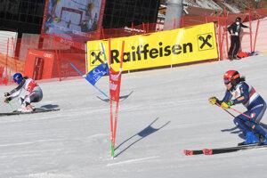 Petra Vlhová a Federica Brignoneová, paralelný obrovský slalom Lech 2020.