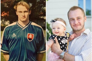 Peter Dobiaš v reprezentačnom drese a s dcérkou.