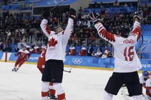 Kanadský hráč Wojtek Wolski oslavuje gól do bránky Česka v hokejovom zápase o tretie miesto Kanada - Česko na ZOH 2018 v Pjongčangu.