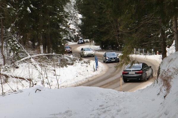 Doprava v zime v Demänovskej doline.