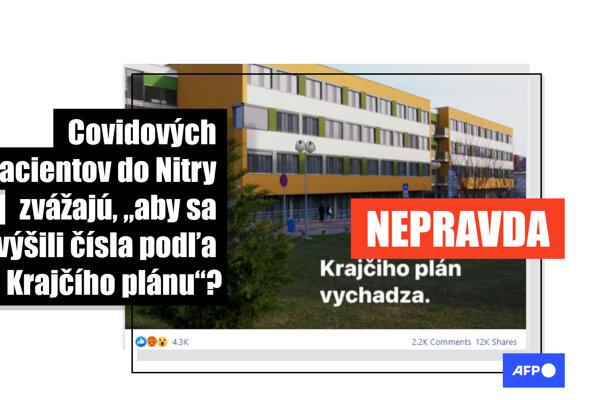 Tvrdenia o účelovom zvážaní pacientov do nemocnice v Nitre sú nepravdivé.
